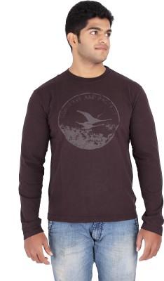 Fx Jeans Co Graphic Print Men's Round Neck Brown T-Shirt
