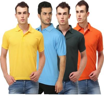 Lime Solid Men's Polo Neck Yellow, Light Blue, Dark Green, Orange T-Shirt