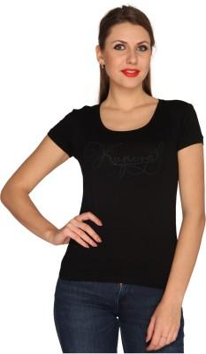 Bedazzle Printed Women's Round Neck Black T-Shirt