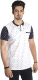 Qubic Polka Print Men's Polo Neck Blue, ...