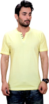 Qubic Solid Men's V-neck Yellow T-Shirt