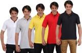 Aqua Solid Men's Polo Neck Multicolor T-...
