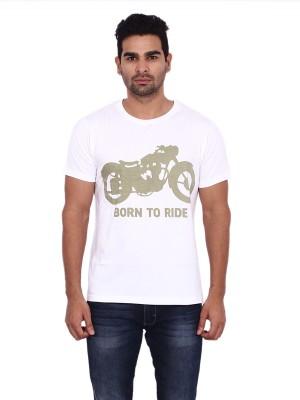 Pagal Desi Printed Men's Round Neck White T-Shirt