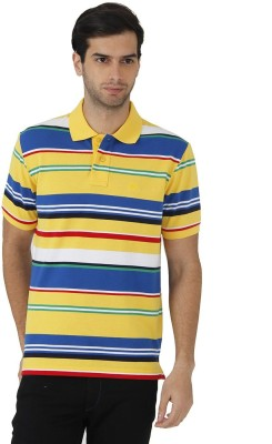 Fahrenheit Striped Men's Polo Neck Yellow, Red T-Shirt