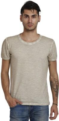 Skatti Solid Men,s Round Neck Beige T-Shirt