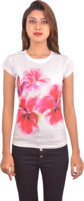 Blueash Printed Women's Round Neck White T-Shirt