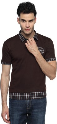 Swing9 Embroidered Men's Polo Neck Brown T-Shirt