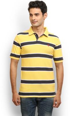 Thisrupt Striped Men's Polo Neck Yellow T-Shirt