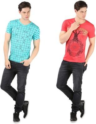 A1 Tees Printed Men's V-neck Multicolor T-Shirt