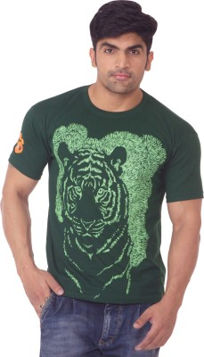 One For Blue Printed Men's Round Neck Green T-Shirt