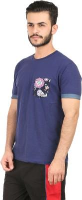 Habitude Floral Print Men's Round Neck Dark Blue T-Shirt