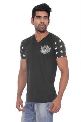 Pezzava Self Design Men's V-neck Reversible Dark Green, White T-Shirt