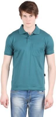 Moonwalker Solid Men's Polo Neck Dark Green T-Shirt