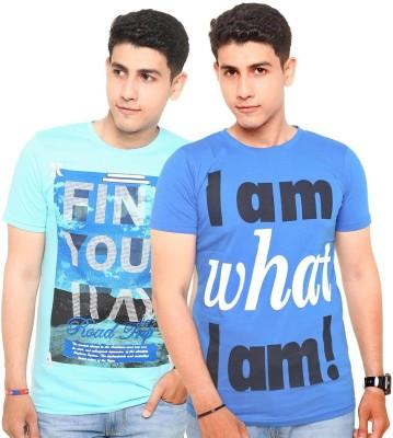 Zwizdot Printed Men,s Round Neck Light Blue, Blue T-Shirt