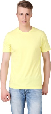 Aventura Outfitters Solid Men's Round Neck Yellow T-Shirt