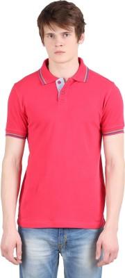 Moonwalker Solid Men's Polo Neck Pink T-Shirt