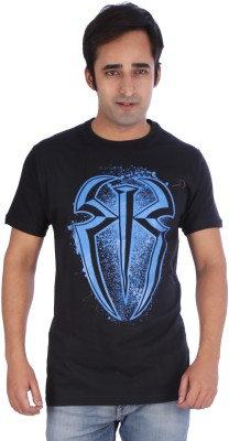 4Play Printed Men's Round Neck Black T-Shirt