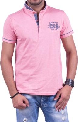 Cotton & Blends Solid Men's Henley Pink T-Shirt
