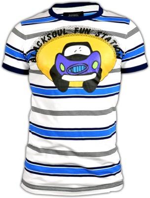 Blacksoul Striped Men's Round Neck Blue, White T-Shirt