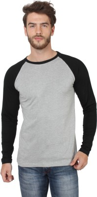 SayItLoud Solid Men's Round Neck Grey, Black T-Shirt