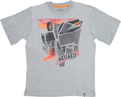 Mankoose Solid Boy's Flap Collar Neck Grey T-Shirt
