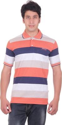 Montreal Striped Men,s Polo Orange T-Shirt