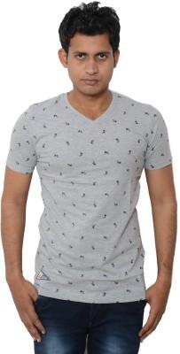Lampara Polka Print Men's V-neck Grey T-Shirt