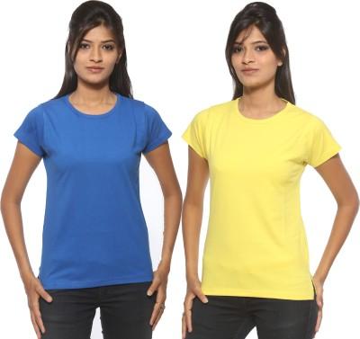 Threadz Solid Women's Round Neck Blue, Yellow T-Shirt
