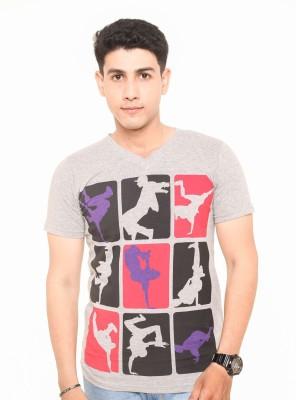 Zwizdot Printed Men,s V-neck Grey T-Shirt