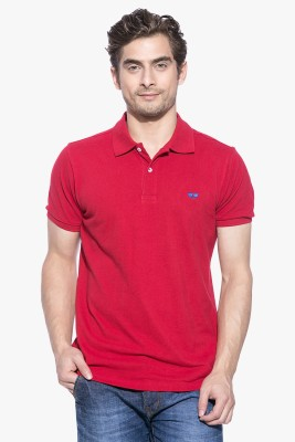 GARCON Solid Men's Polo Neck Red T-Shirt