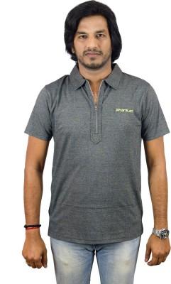 JEANLUC Self Design Men's Polo Neck Grey T-Shirt