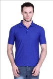 Gdivine Solid Men's Polo Neck Blue T-Shi...