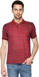 Avenster Striped Men's Polo Neck Red T-S...