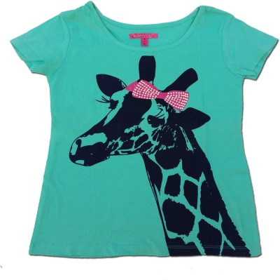 Kuddle Kid Animal Print Girl's Round Neck Light Blue T-Shirt
