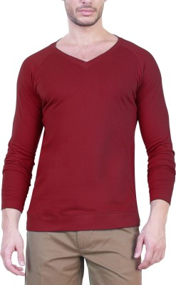 Unkonventional Solid Men's V-neck Maroon T-Shirt