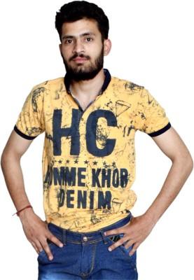 allrugget Printed Boy's Round Neck Yellow, Black, Dark Blue T-Shirt