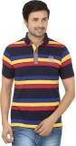 Q-Plus Striped Men's Polo Neck Multicolo...