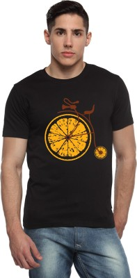 ADRO Printed Men's Round Neck Black T-Shirt