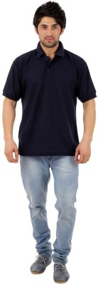 Rockhard Solid Men's Polo Neck Dark Blue T-Shirt