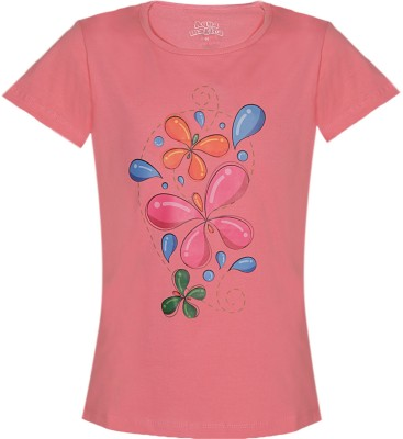 Aquamagica Floral Print Girl's Round Neck Pink T-Shirt