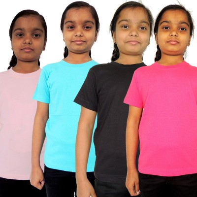 Trendster Solid Girl's Round Neck Multicolor T-Shirt