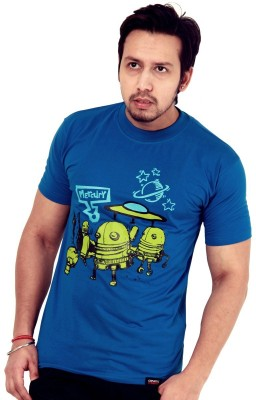 Crypticvoodoo Graphic Print Men's Round Neck Blue T-Shirt