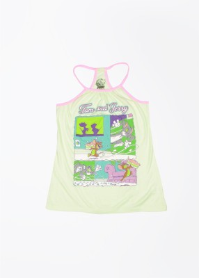 Tom & Jerry Printed Girl's Fashion Neck Green, Yellow, Multicolor T-Shirt