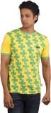 Moxi Printed Men's Round Neck Yellow T-S...