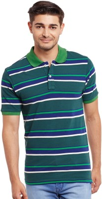 The Vanca Striped Men's Polo Neck Green T-Shirt