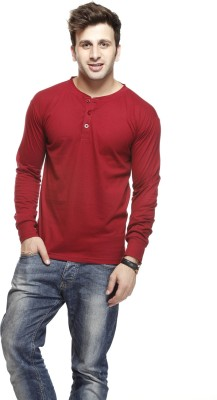 Gritstones Solid Men's Round Neck Red T-Shirt