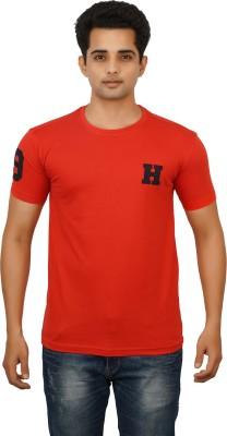 Huntler Self Design Men's Round Neck Orange T-Shirt