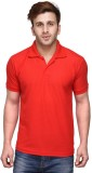 Friskers Solid Men's Polo Neck Red T-Shi...