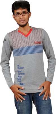 Harsha Printed Men's V-neck Grey T-Shirt