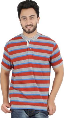 Hoodz Striped Men's Henley Maroon T-Shirt
